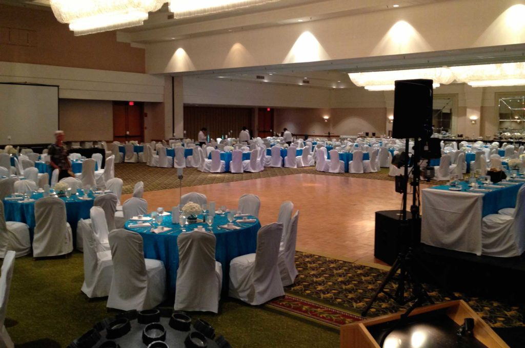Photograph of Large Wedding Party Setup