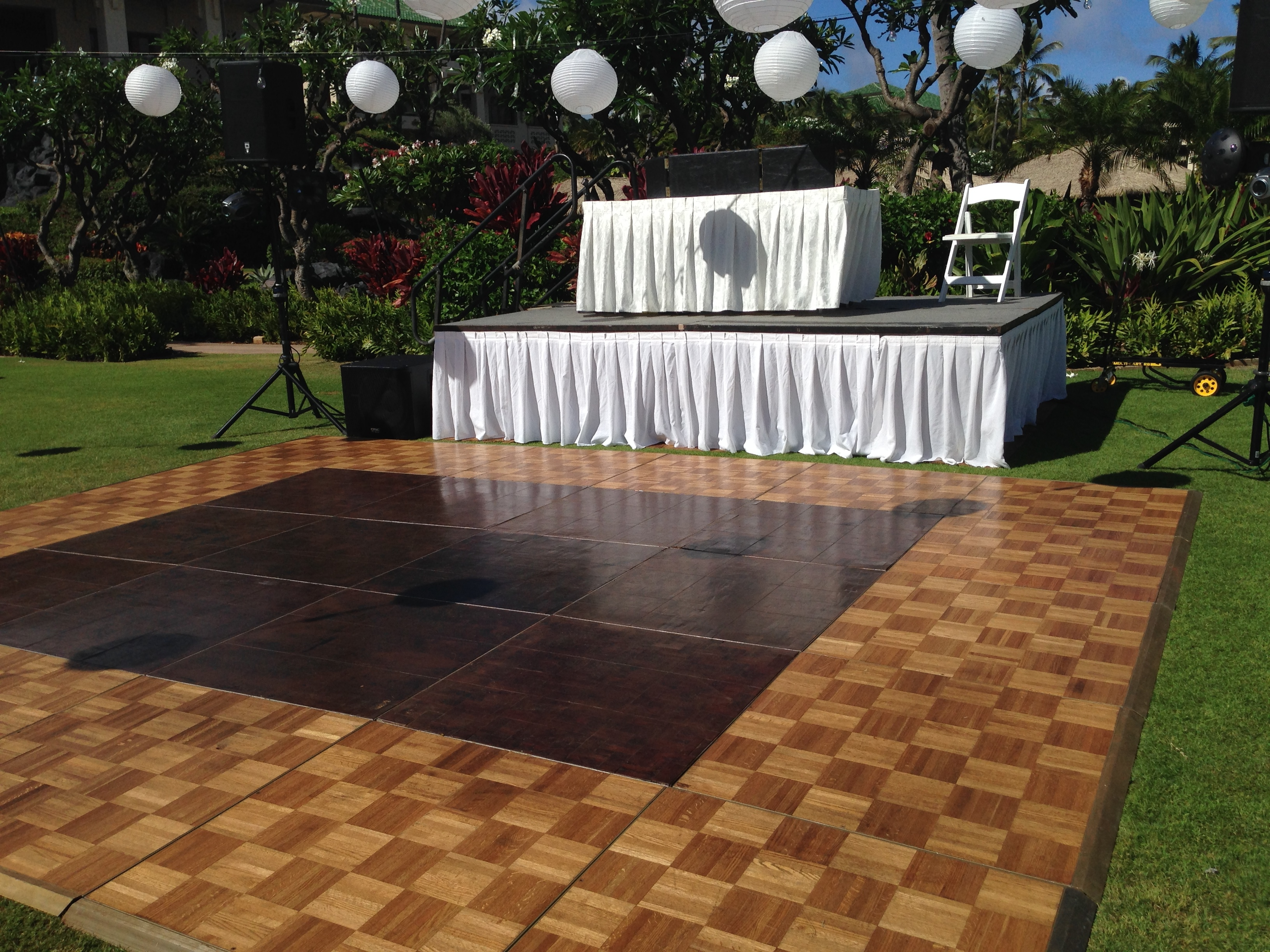 Teak Wood Parquet Dancefloor with Brass Trim